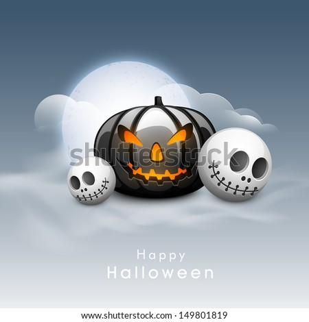 Scary Halloween Pumpkin with skull in moonlight sky background. Can be use as poster, flyer or banner for Halloween Party.  - stock vector