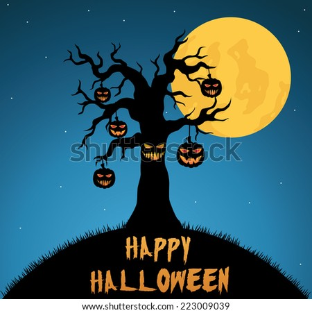 Scary Halloween Tree With Hanging Pumpkin And Dark Blue Background - stock vector