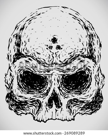 scary hand drawn evil skull - stock vector