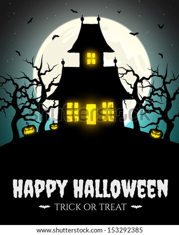 Scary house on hill with moon - stock vector