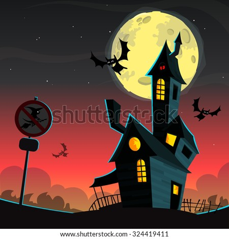 Scary house on night background with a full moon behind - Vector Halloween background - stock vector