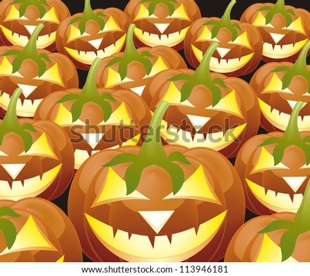 Scary Jack O Lantern halloween pumpkin with candle light inside - stock vector