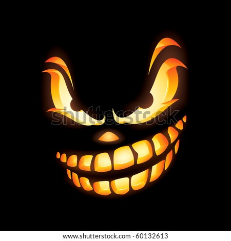 Scary Jack O Lantern in the dark with fierce expression - stock vector