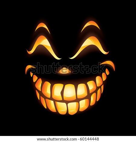 Scary Jack O Lantern smiling in the dark - stock vector