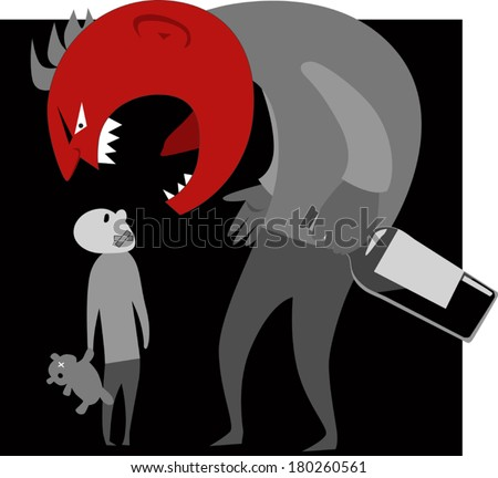 Scary monster parent with a bottle of alcohol in his hand yelling at scared silenced child - stock vector