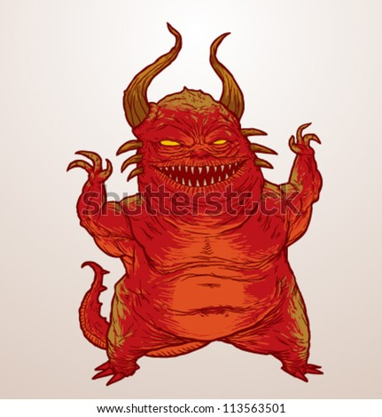 Scary monster, vector 02 - stock vector