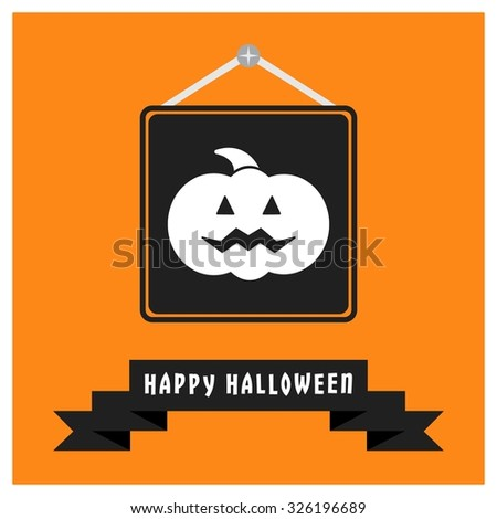 Scary Pumpkin icon. Black Happy Halloween Ribbon Banner on Orange background. Vector illustration