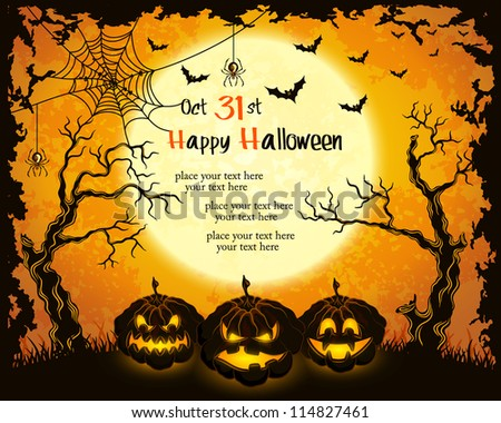 Scary pumpkins, full moon, trees and bats. Orange grungy halloween background. Vector Illustration. - stock vector