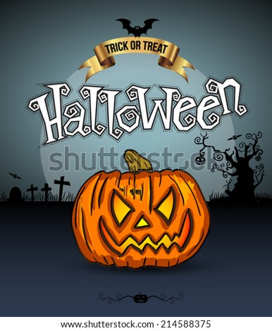 Scary pumpkins, full moon, trees and bats. Vector Illustration. Trick or Treat on gold ribbon. - stock vector