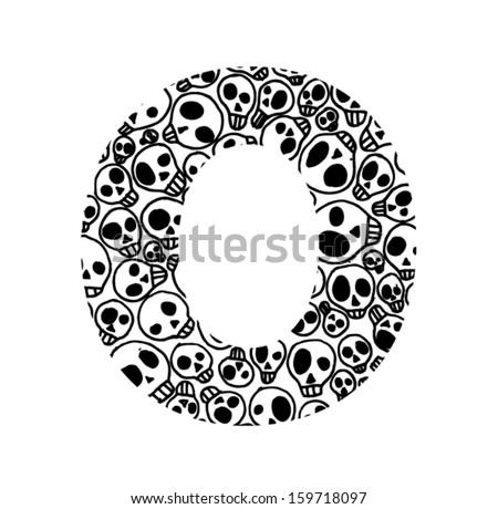 Scary Skull Font Letter O Stock Vector 159718097