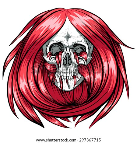 Scary skull with red long hair.White background.White background.
