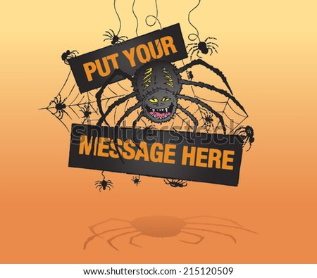 Scary spider Halloween invitation, poster or label. Hand drawn color isolated vector sketch on orange background. - stock vector