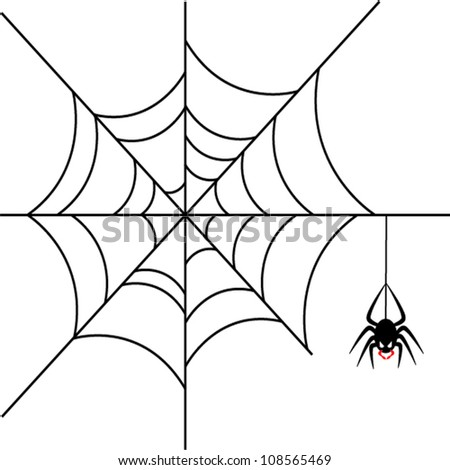 Scary spider over white background - stock vector