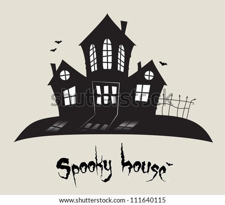 Scary spooky house, Halloween theme in vector - stock vector