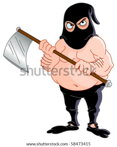 Scary torturer holding an axe - stock vector