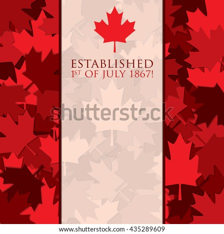 Scatter Canada Day maple leaf card in vector format. - stock vector