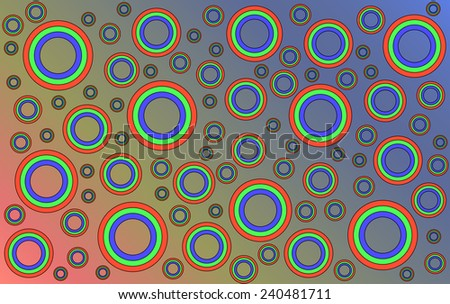 Scattered colored circles of different sizes on a colored background. - stock vector