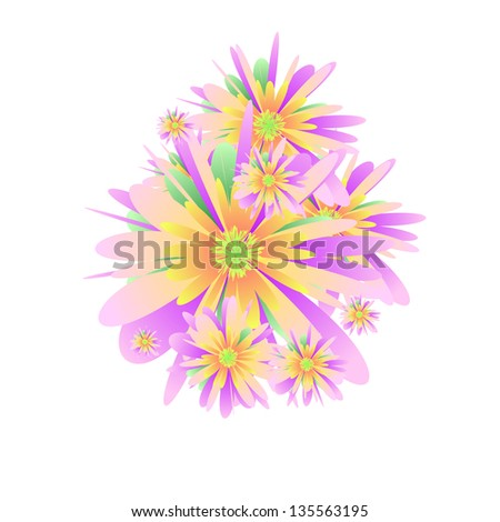 Scattered flowers on the white background - stock vector