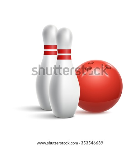 Scattered skittle and bowling ball. Vector illustration - stock vector