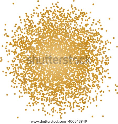 Scattering golden dots. Glittering texture background. Vector illustration.