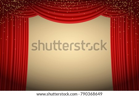 Scene background with red curtains banner for concerts, performances, advertisement posters. Elegant event frame with empty space ready for the evening party, broadway show, cabaret atmosphere, ads.