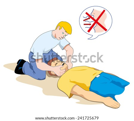 Scene first aid illustration shows a person providing assistance to another person unconscious checking breathing  - stock vector