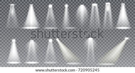 Scene illumination big collection, transparent effects. Bright lighting with spotlights. Vector Illustration