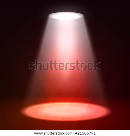 Scene illumination. Shine effects on a dark grunge wall background. Bright lighting with spotlights and glow effects - stock vector
