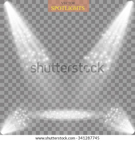 Scene illumination, transparent effects  Bright lighting with spotlights. - stock vector