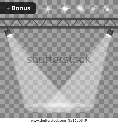 Scene illumination, transparent effects on a plaid background. Bright lighting with spotlights. - stock vector