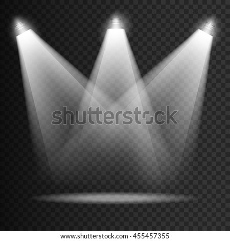 Scene illumination transparent effects on a plaid dark background. Bright lighting with isolated spotlights. Vector EPS10 - stock vector