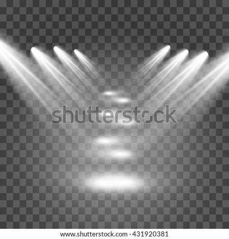 Scene illumination, transparent effects on a plaid dark background. Bright lighting with spotlights.light.Set - stock vector