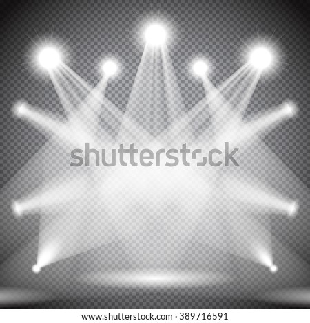 Scene illumination, transparent effects on dark  background. Bright lighting with spotlights, floodlights, projectors. - stock vector