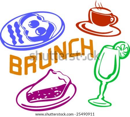 Scene of brunch - stock vector