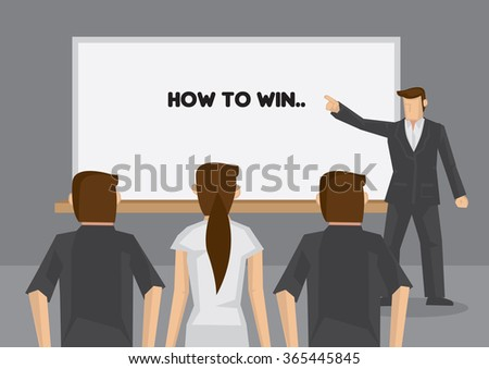 Scene of coaching class with trainer standing in front of a group of audience and pointing to text, How to Win, on whiteboard. Vector illustration on coaching concept.