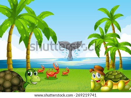 Scene of the ocean with many sea animals - stock vector