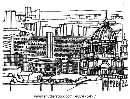 Scene street illustration. Hand drawn ink line sketch European old town Berlin, Germany with buildings, roofs in outline style. Ink drawing of cityscape, panorama view. Travel postcard.