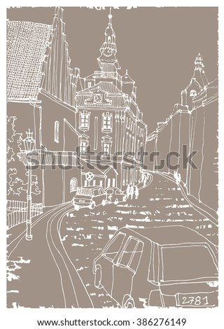 Scene street illustration. Hand drawn ink line vintage sketch European old town , historical architecture with cars, buildings, road . Ink drawing of cityscape, perspective view. Travel postcard.
