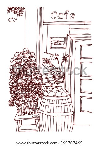 Scene street illustration. Hand drawn ink sketch European old town and cafe with chair and food  in outline style. Ink drawing of cityscape, perspective view. Travel postcard. - stock vector