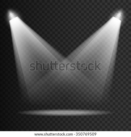 Scene transparent lights effects on a plaid dark background. Bright lighting illumination with isolated spotlights. Vector EPS10 - stock vector
