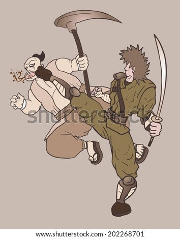 Scene war - stock vector