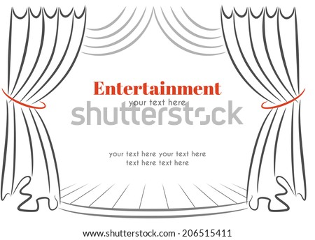 Scene with curtains - stock vector