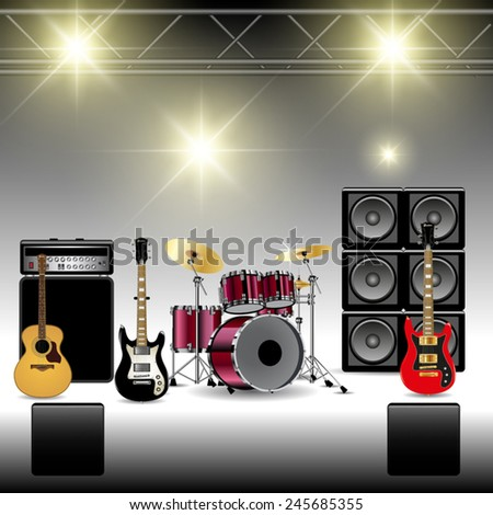 Scene with music equipment before concert. Vector illustration - stock vector