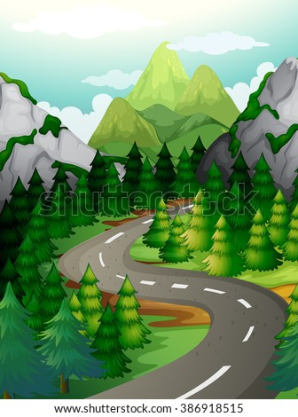Scene with pine trees along the expressway illustration - stock vector