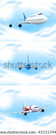 Scene with planes flying in the sky illustration