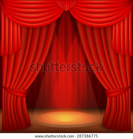 scene with red curtains, curtain velvet drapes and accent lighting