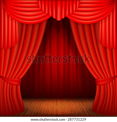 scene with red curtains, curtain velvet drapes and accent lighting - stock vector