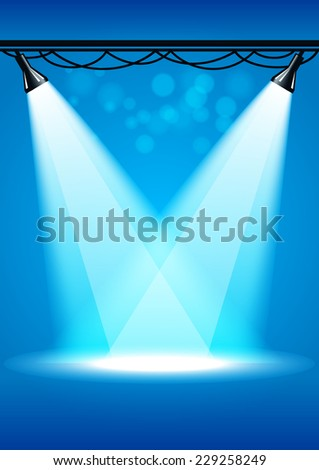 Scene with searchlights  - stock vector
