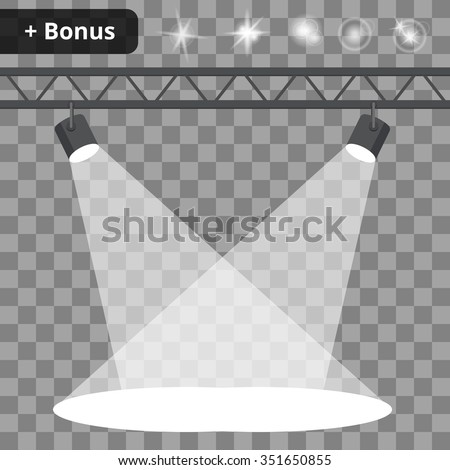 Scene with spotlights on a transparent background. bonus with a picture of the lighting effects and reflections. - stock vector