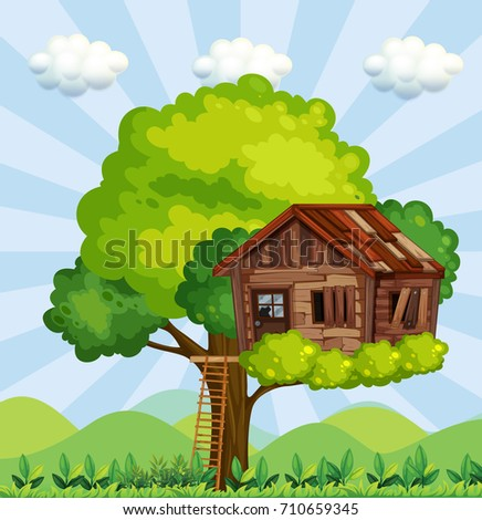 Scene with tree house in the park illustration